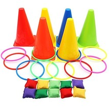 Aytai 3 in 1 Party Games Set - Soft Traffic Cone Bean Bags Ring Toss Gam... - $31.26