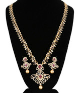 GOLD PLATED AD STONE LONG HARAM NECKLACE SET WITH MATCHING EARRINGS FOR ... - $1.406,06 MXN