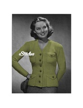 1940s V Neck Sweater Coat Button Front, Pockets - Knit pattern (PDF 1304) - $3.75