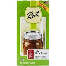 BALL REGULAR MOUTH  LIDS ( SMALL JARS ~12) WITH BANDS CANNING LIDS, BPA ... - $6.94