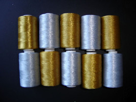 ~10 metallic golden silver RAYON MACHINE EMBROIDERY THREAD BROTHER $50 v... - $14.99