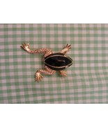 Vintage Frog Brooch, Black Enamel on Gold Toned Metal, Gem Decorated Leg... - $7.91