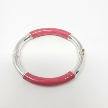 Vintage Milor Italy 925 Sterling & Pink Enamel 7mm Tube Hinged Bangle Br... - $64.34