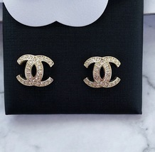 Authentic CHANEL GALAXY CRYSTAL CC Classic Logo Stud Earrings Gold