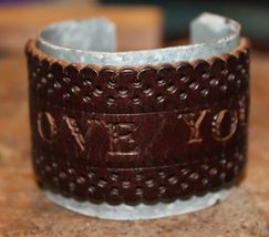 Handcrafted I Love You Leather on Metal Cuff Bracelet - $29.99