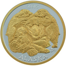 Alaska Mint Official 2015 State Medallion Gold & Silver Medallion Proof ... - $122.75