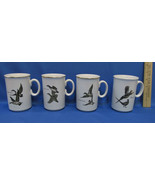 Set 4 Coffee Mugs Bird Canada Goose Pheasant Ducks White w/ Gold Black E... - $24.74