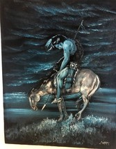 Native American Indian Culture Horse Black Velvet Painting blue 16x20 - $35.18