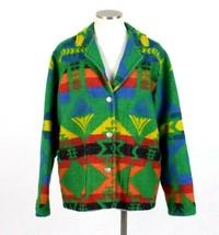 Vtg 90s Chicos Ranch Jacket Southwestern Indian Blanket Coat Green Wool ... - $94.04