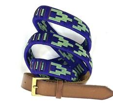 """Woven Blue Green Belt Womens Geometric 3/4"""" wide 35-38"""" long - $8.90"""