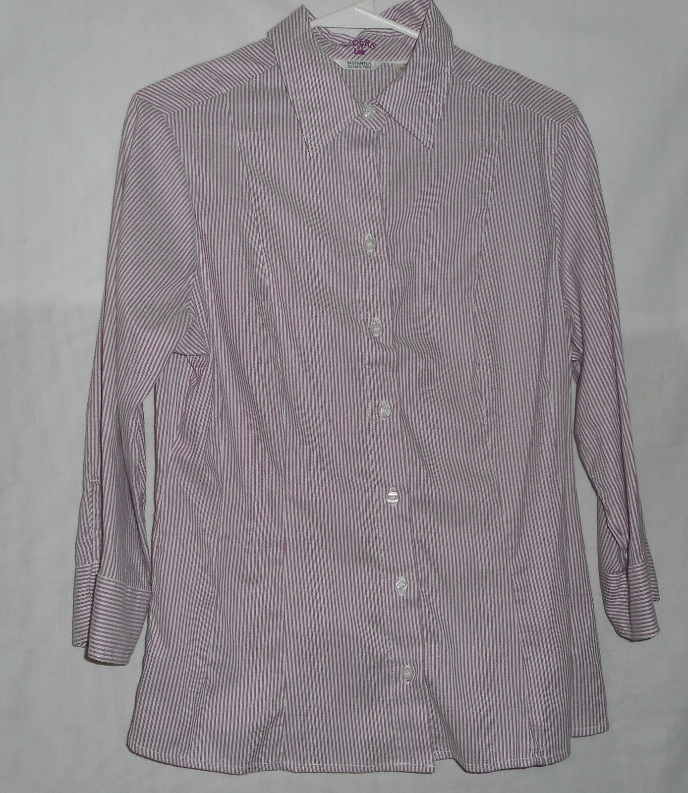 Riders by Lee Womens Size Medium Button Down Shirt Purple White Striped - $8.80