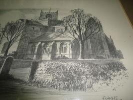 Original Art UK Artist JUDGES Pencil Sketch Cartmel Priory Cumbria Framed image 7