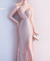 Sleeveless Sexy Sequin Dress V Neck High Slit Sequin Maxi Dress Gown Pink Gold image 7