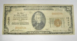 1929 $20.00 National Bank Note Washington Court House, OH Low Serial # VG C370 - $163.44