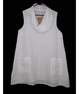 NWT Math Point Sleeveless Cowl Tunic Top White Linen A-line - $38.69
