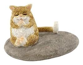 Top Collection Miniature Fairy Garden and Terrarium Cat Meditating on Ro... - $13.96