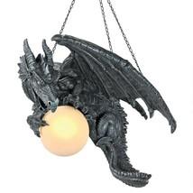 Illuminated Dragon Chandelier Lamp Hanging Sculpture Gothic Medieval Decor - $176.39
