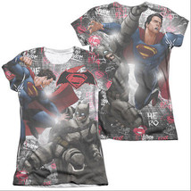 Batman v Superman Showdown Sublimation Juniors T-Shirt White - $18.98