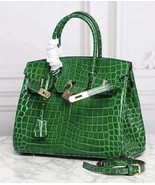35cm Crocodile Pattern Italian Leather Birkin Style Bag Satchel Handbag ... - $168.25+
