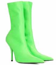9AB152 Candy color pointy booties, stiletto, high stretchable,size 4-11, green - $78.80