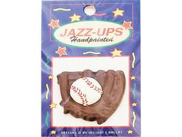 Jazz-Ups Decorative Hand Painted Baseball Mitt and Ball, Flatback #0097C