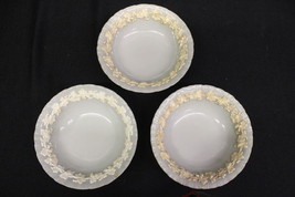 """3 Pc Vintage Wedgwood Queensware Cream on Celadon Ivy Grapes 6"""" Coupe Bowls - $69.99"""