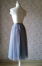 GRAY Tulle Midi Skirt High Waisted Bridesmaid Tulle Skirt Plus Size Gray Wedding image 6