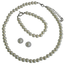 Cream Pearl Necklace Set - Bridesmaid Jewelry Set - Flower Girl Pearl Gift Set - - $18.00