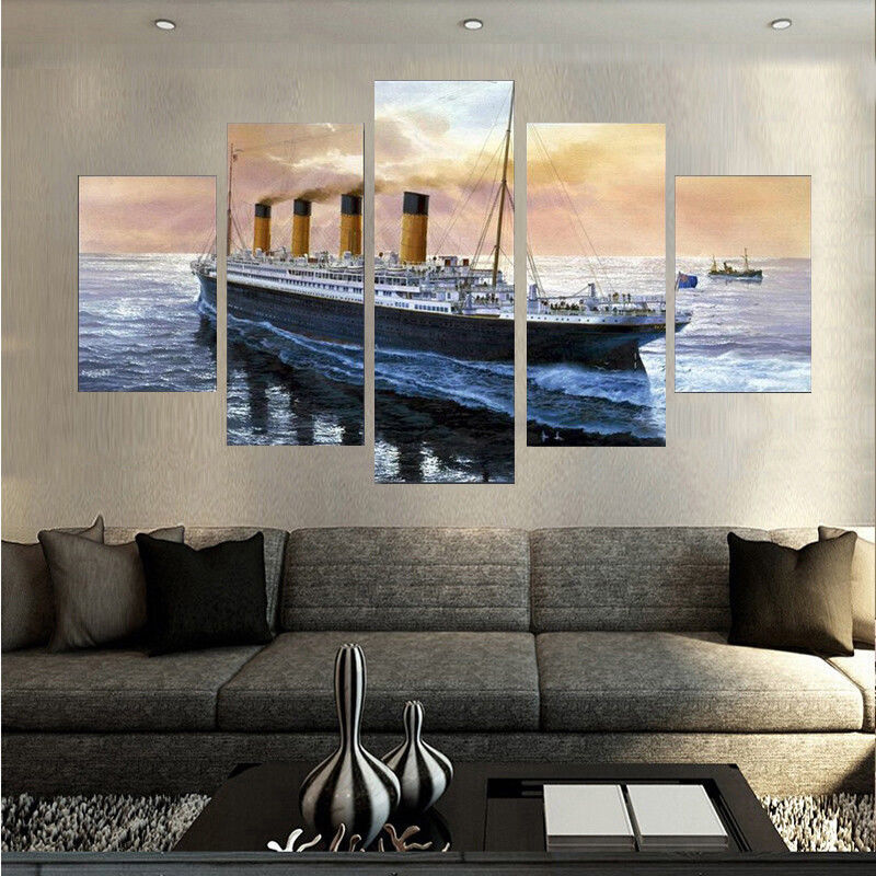 Large Framed Titanic Nautical Canvas Print Wall Art Home 5 Piece for sale  USA