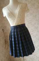 Girl NAVY Blue PLAID Skirt Pleated Plaid Skirt School Style Plaid Skirt US0-US16