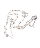 Authentic Chanel Crystal Baguette CC Long Pearl Beaded Necklace Silver - $899.00