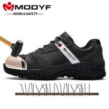 Work Leather MODYF Genuine Casual Anti Footwe Safety Steel Shoe Cap Toe Men kick wHInRqHB