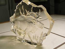 Mats Jonasson Glass standup paperweight,crystal Moose, wild animal,statue - $147.25