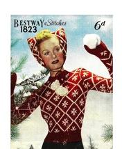 1940s Cat Ear Cap, Mittens & Jumper,Snow Queen Set - 3 Knit patterns (PDF 1823) - $3.75