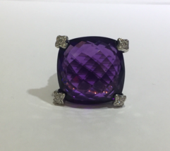 David Yurman Cushion On Point Ring with Amethyst and Diamonds Ring 20mm - $1,050.00