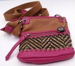 The Sak Pax leather Pink/Brown Small Adjustable Strap messenger bag - $29.92