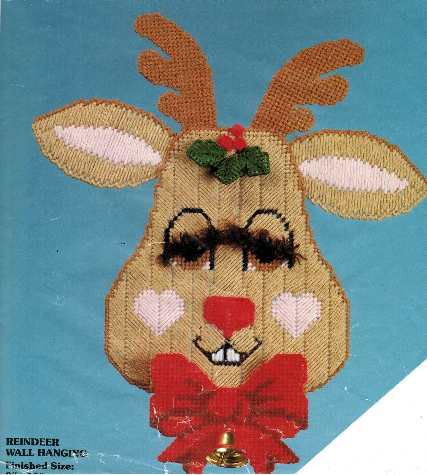 "Plastic Canvas Distlefink Christmas Reindeer Wall Hanging Kit 9"" x 16"" - $13.99"