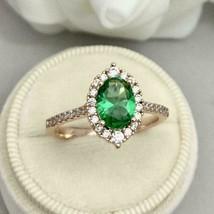 2.50Ct Emerald Cut Green Emerald Halo Wedding Engagement Ring 14K Rose G... - $102.95