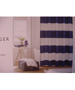 Tommy Hilfiger Cabana Stripe Seersucker Navy White Shower Curtain - $32.00