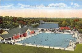 Municipal Swimming Pool Austin Minnesota linen postcard - $5.89