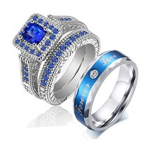LOVERSRING Couple Ring Bridal Set His Hers White Gold Plated Blue CZ Sta... - $27.28