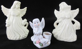 LOT-3 China Angels Child Bird Small Candel 2 Set Flowers & Hearts - $11.35