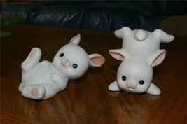 Homco 2 White Bunnies 1454 Rabbits Home Interiors - $7.99