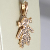 Rose gold pendant 750 18k, child, girl long 2.5 cm zirconia made in italy image 2