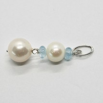 Pendant White Gold 18K 750 with White Pearls of Water Dolce and Aquamarine image 2