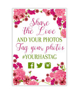 Floral Roses Wedding Share the Love Social Media Hashtag Poster - $22.28+