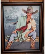 "Doreman Burns Cowgirl Signed Print Wood Framed Western Decor 27"" x 33"" - $391.05"