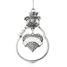 Inspired Silver Mint and Peach Little Pave Heart Snowman Holiday Ornament - $14.69