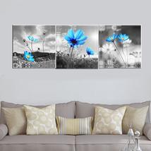Framed Blue Dandelion 3 Pcs Flower Canvas Wall Art Modern Print Post Hom... - $35.90+
