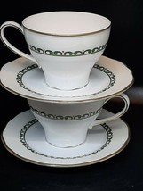 Haengnam teacup & saucer pair in excellent condition green & cream on white - $16.00